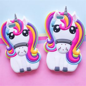Cute 3D Rainbow Unicorn Horse Animal Cartoon Silicone Phone Cases Covers For iPhone 5 5s SE 6 6s 7 6 Plus 7 Plus Case
