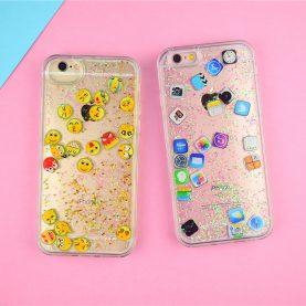 For iPhone X 8 8Plus 7 7plus 6 6s 6plus Case Emoticon Emoji APP icon Diamond Light Liquid Glitter QuickSand Phone Cover