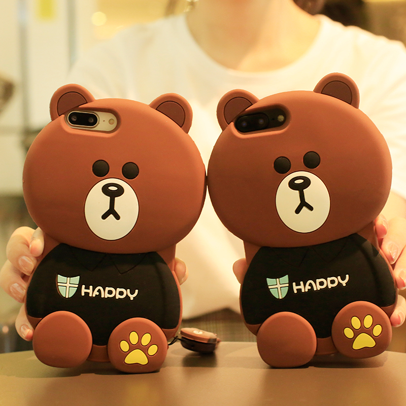 super popular 5e429 ad839 LINE FRIENDS 3D Brown Bear Case for iPhone X 8 8Plus 7 7plus 6 6s 6plus  Bear Case Without hanging rope