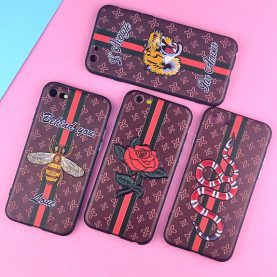 Silicone Relief Case For iPhone X Case Cute Bee Tiger Rose Flower Snake Cover TPU Phone Cases For iphone 7 8 6 6S PLus 7plus