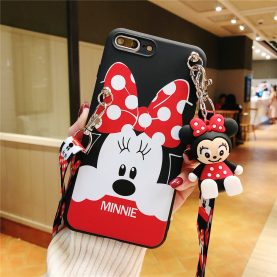 For iPhone 12 11 Pro Xs Max XR 6 7 8Plus Case Minnie Phone Case TPU With Stand Holder Phone Strap Rope