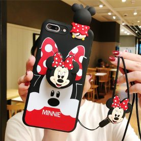 For iPhone 12 11 Pro Xs Max XR 6 7 8Plus Case Minnie TPU Stand Holder Phone Strap Rope Case