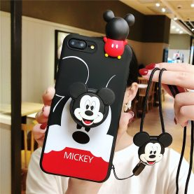For iPhone 12 11 Pro Xs Max XR 6 7 8Plus Case Mickey TPU Stand Holder Phone Strap Rope Case