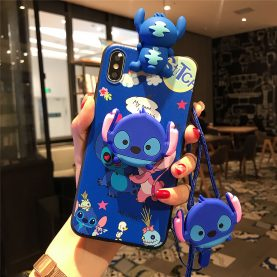 For iPhone 12 11 Pro Xs Max XR 6 7 8Plus Case Stitch Phone Case TPU With Stand Holder Phone Strap Rope