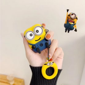 Cartoon Minions despicable Me For Airpods 1 2 For AirPods Pro Silicone Case Protective Cover Pouch Anti Lost Protector with keychain