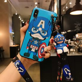 For Samsung Galaxy Case Batman Captain America Iron Man Spider Man Phone Case TPU With Stand Holder Phone Strap Rope