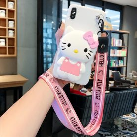 For iPhone SE 6 7 8 Plus X XS XR 11 Pro MAX Cover Hello Kitty Wallet Bag Soft TPU Silicone Case