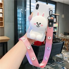 FOR Xiaomi Redmi Cover LINE FRIENDS RABBIT BEAR Wallet Bag Soft TPU Silicone Case
