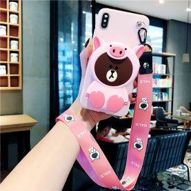 FOR Xiaomi Redmi Cover LINE FRIENDS Pig BEAR Wallet Bag Soft TPU Silicone Case