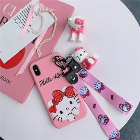 For iPhone 12 11 Pro Xs Max XR 6 7 8Plus Case HELLO KITTY Soft TPU Case Stand Holder Phone Strap Rope Case